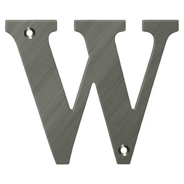 """Deltana Residential Letter W Antique Nickel 4"""" RL4W-15A"""
