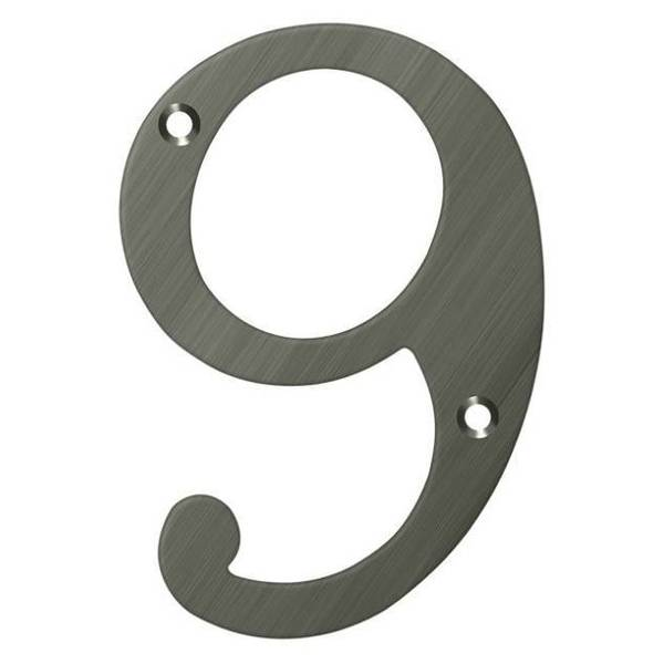 "Deltana Numbers,  Solid Brass Antique Nickel 4"" RN4-9U15A"