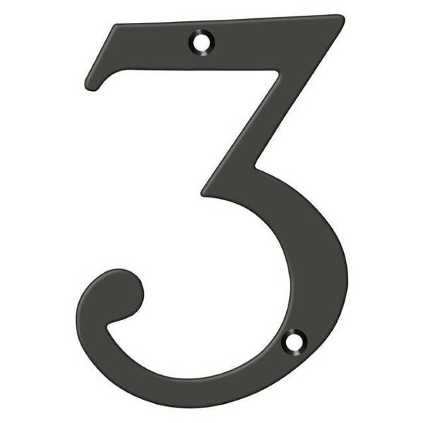 "Deltana Numbers,  Solid Brass Oil Rubbed Bronze 6"" RN6-3U10B"