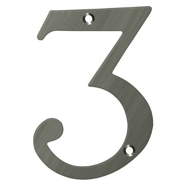 """Deltana Numbers,  Solid Brass Antique Nickel 6"""" RN6-3U15A"""