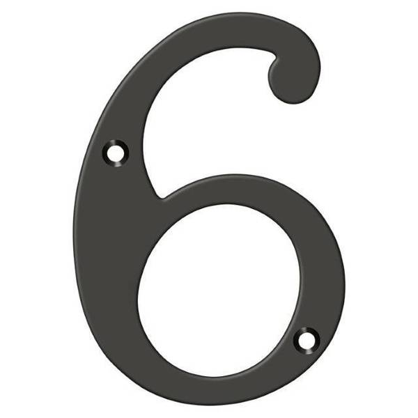 "Deltana Numbers,  Solid Brass Oil Rubbed Bronze 6"" RN6-6U10B"