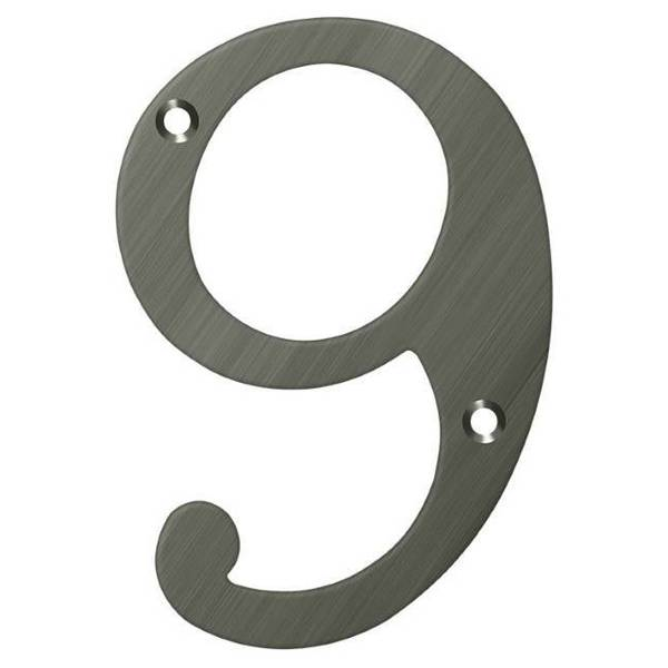 """Deltana Numbers,  Solid Brass Antique Nickel 6"""" RN6-9U15A"""