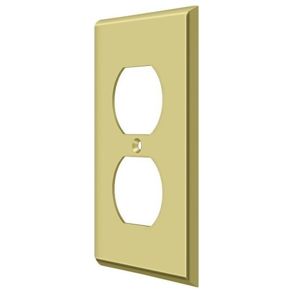 Deltana Switch Plate,  Double Outlet Bright Brass SWP4752U3