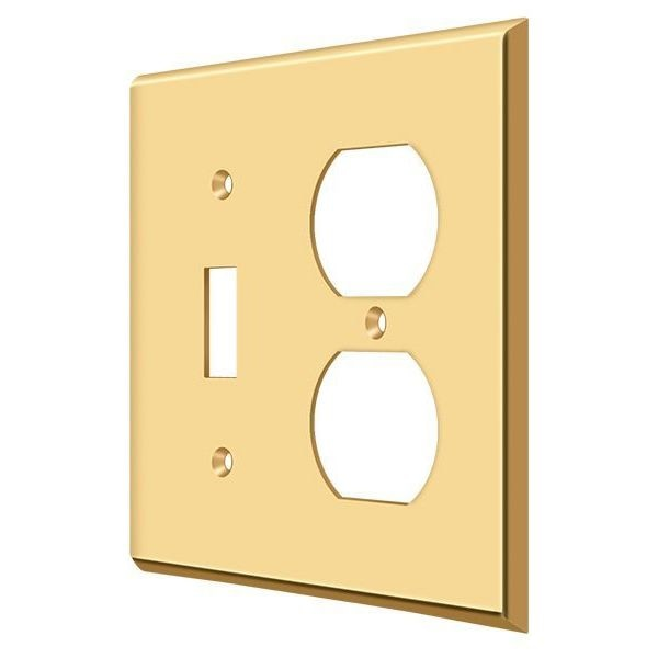 Deltana Switch Plate,  Single Switch/Double Outlet Lifetime Brass SWP4762CR003