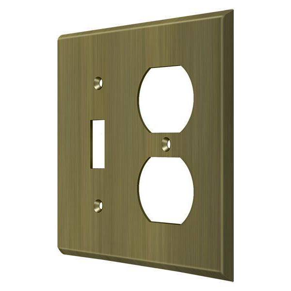 Deltana Switch Plate,  Single Switch/Double Outlet Antique Brass SWP4762U5