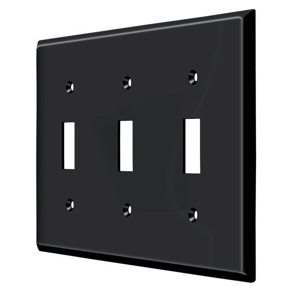 Deltana Switch Plate,  Triple Standard Black SWP4763U19