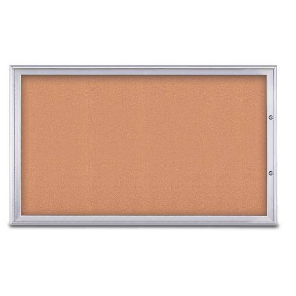 "United Visual Products Single Door Radius Plus Corkboard, 60""X UV8004PLUS1-SATIN-CORK"