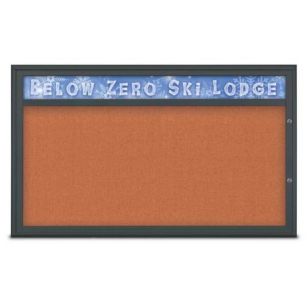 United Visual Products Single Door Radius Plus Corkboard With H UV8014PLUS1-BLACK-APRICOT