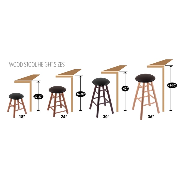 Holland Bar Stool Co. Oak Counter Stool, Dark Cherry Finish, Canter Espresso Seat RC24OSNat022