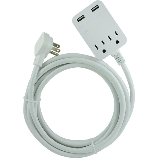 Ge USB 12 ft. Extension Cord with Surge Protection 32089