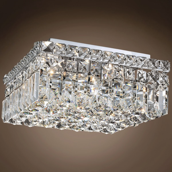 Joshua Marshal Ibiza Design 4 Light 12 Chrome Flush Mount w/Clear Swarovski Crystals 701068-003