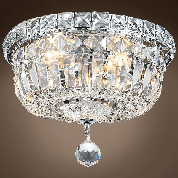 Joshua Marshal Invisible Design 4 Light 10 Chrome Flush Mount w/Clear Asfour Crystals 701256-002