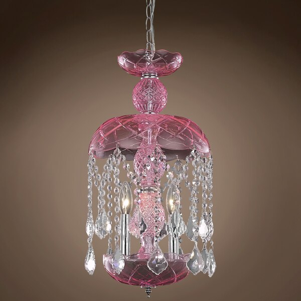"Joshua Marshal Harvest Design 3 Light 11 Pink Chandelier With Clear Asfour Crystals"" 701410-002"