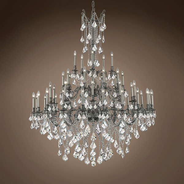 "Joshua Marshal Versailles 45 Light 54 Pewter Chandelier With Clear European Crystals"" 701580-049"