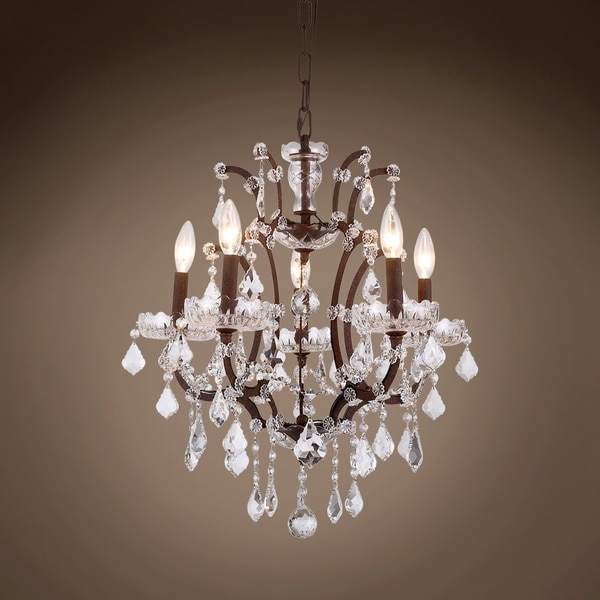 Gatsby Luminaires 19th c. Rococo Chandelier 5 Lght 18 in Rustic Iron Clr Euro Crystal 701607-003