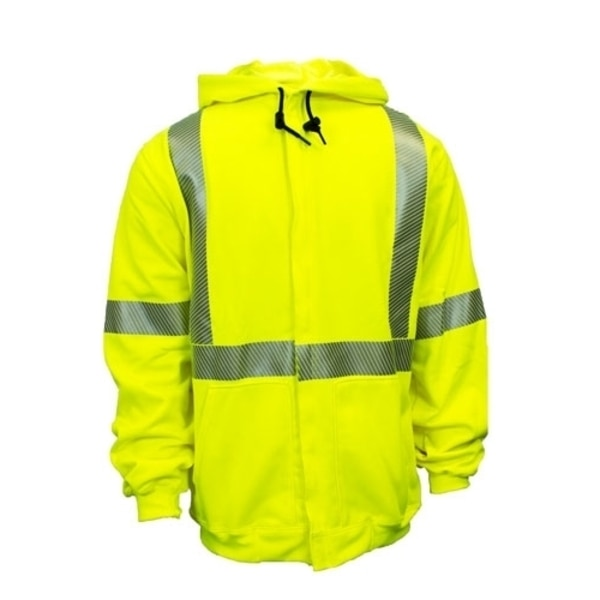National Safety Apparel 10OZ. HI-VIS ZIP SWEATSHIRT-SM, CLASS 3 FR FLUOR YELLOW HOODED C21HC05C3SM