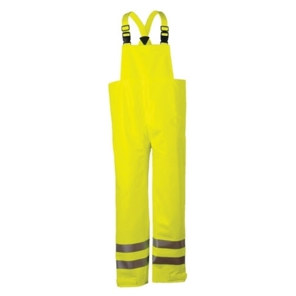 National Safety Apparel 10OZ FR CLASS E BIB PANT-SM, FLUOR YELLOW PU COATED COTTON R40RL14SM