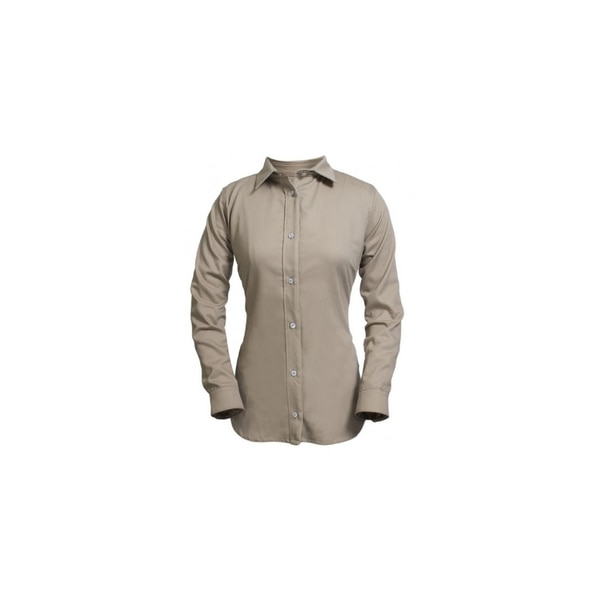 National Safety Apparel 7OZ KHAKI LONG SLEEVE SHIRT-MD, ULTRASOFT, WOMEN'S,  NO POCKET SHRUKWMDRG