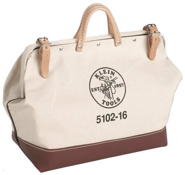 Klein Tools Wide-Mouth Tool Bag,  Heavy-Duty #8 Natural Canvas,  1 Pockets 5102-22