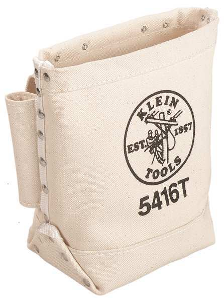 "Klein Tools Tool Pouch,  No. 4 Canvas,  3 Pockets,  natural,  9"" Height 5416T"