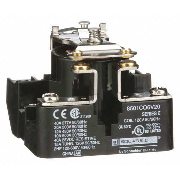 Square D Open Power Relay, 4 Pin, 120VAC, SPST-NO 8501CO6V20