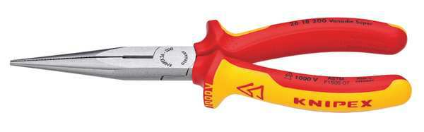 KNIPEX 26 18 200 SBA Insulated Long Nose Plier,8 in.,Serrated