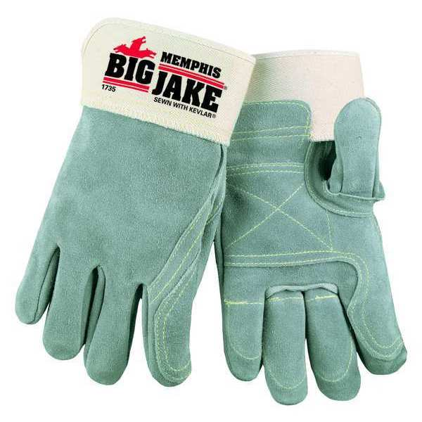 Mcr Safety Leather Gloves, Safety Cuff, L, Gray, PR 1735L