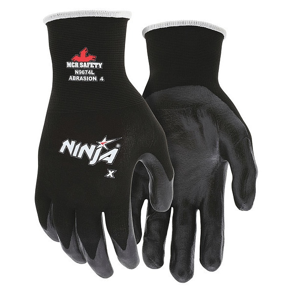 Mcr Safety Coated Gloves, M, Black, Bi Polymer, PR N9674M