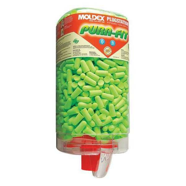Moldex Disposable Uncorded Ear Plugs with Dispenser,  Bullet Shape,  33 dB,  500 Pairs,  Green 6845