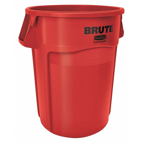 Rubbermaid 44 gal. Plastic Round Trash Can ,  Red FG264360RED