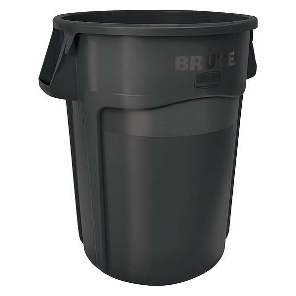Rubbermaid 44 gal. Plastic Round Trash Can ,  Black FG264360BLA