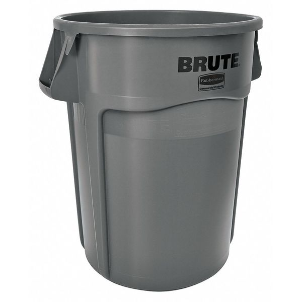 Rubbermaid 44 gal. Plastic Round Trash Can ,  Gray FG264360GRAY