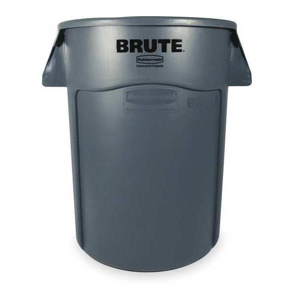Rubbermaid 55 gal. Plastic Round Trash Can ,  Gray FG265500GRAY