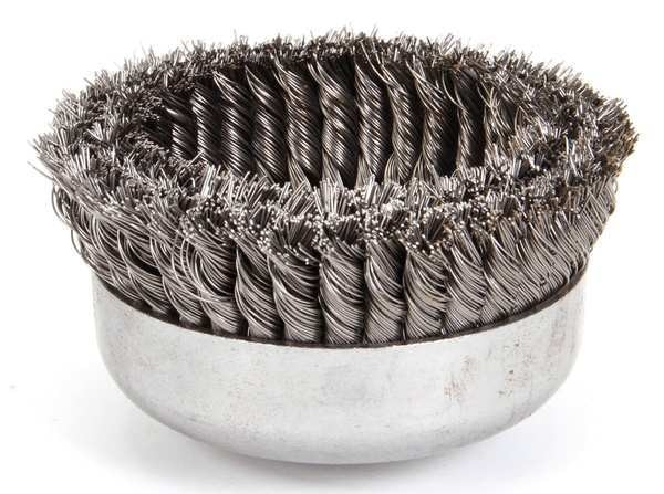 Weiler Double Row Cup Wire Brush,  Threaded Arbor 97443