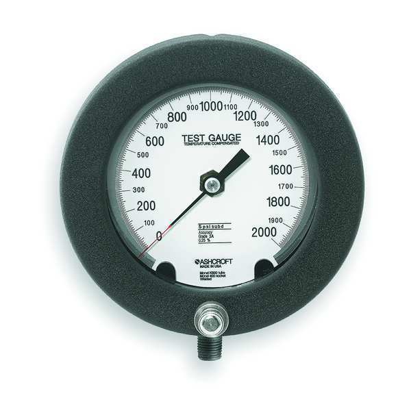 Ashcroft Pressure Gauge, 0 to 2000 psi, 6In, 1/4In 60-1082PS 02L 2000 PSI