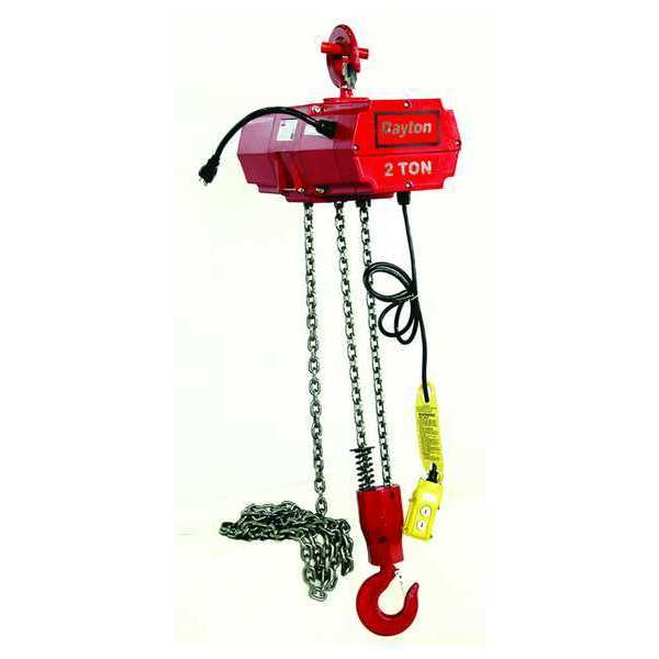 Dayton Electric Chain Hoist,  4,000 lb,  15 ft,  Hook Mounted - No Trolley,  Red 2GXH7