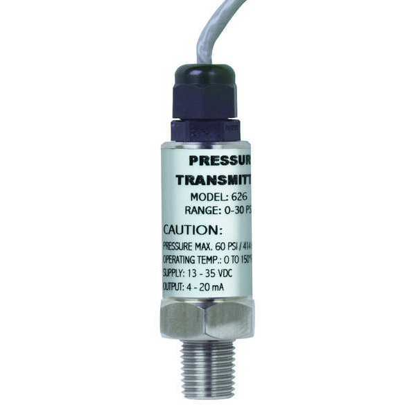 Dwyer Instruments Pressure Transmitter, 0-50psi, 36 In Lead 626-09-GH-P1-E1-S1