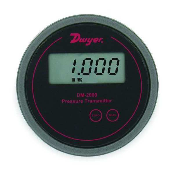 Dwyer Instruments Pressure Transmitter, LCD, 0 to 0.25 In WC DM-2002-LCD