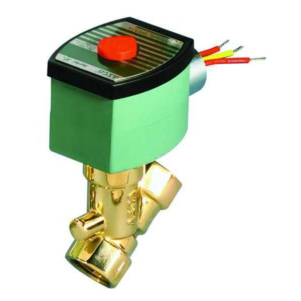 Asco 120V AC Brass Solenoid Valve,  Normally Closed,  3/8 in Pipe Size 8210G073