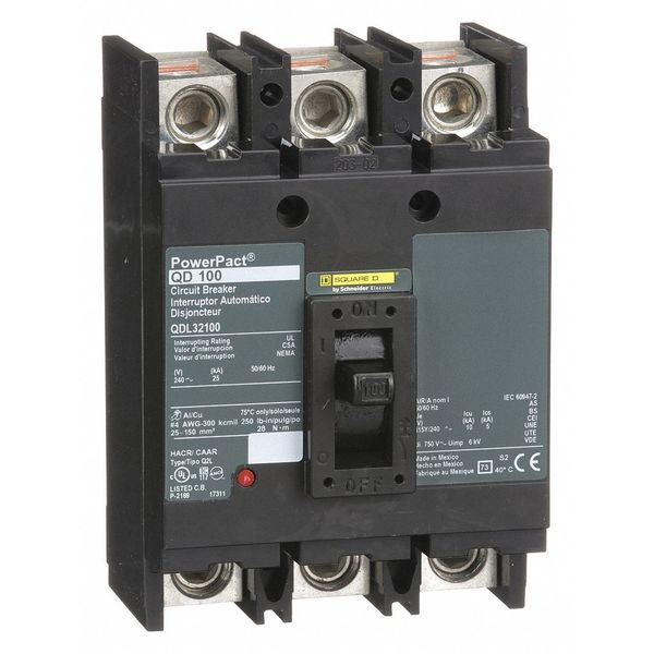 Square D By Schneider Electric 100 A A Free Standing Standard Molded Case Circuit Breaker ,  240V AC QDL32100