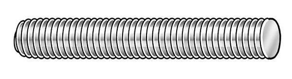 "Zoro Select 1/4""-28 x 2' Plain Low Carbon Steel Threaded Rod,  Length: 2 ft 21202"