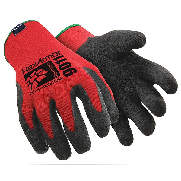 Hexarmor Cut Resistant Gloves, Red/Black, L, PR 9011-L (9)