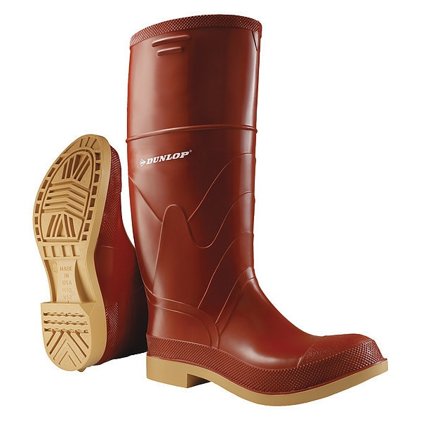 Dunlop Size 12 Men's Steel Rubber Boot,  Brick Red 853241233