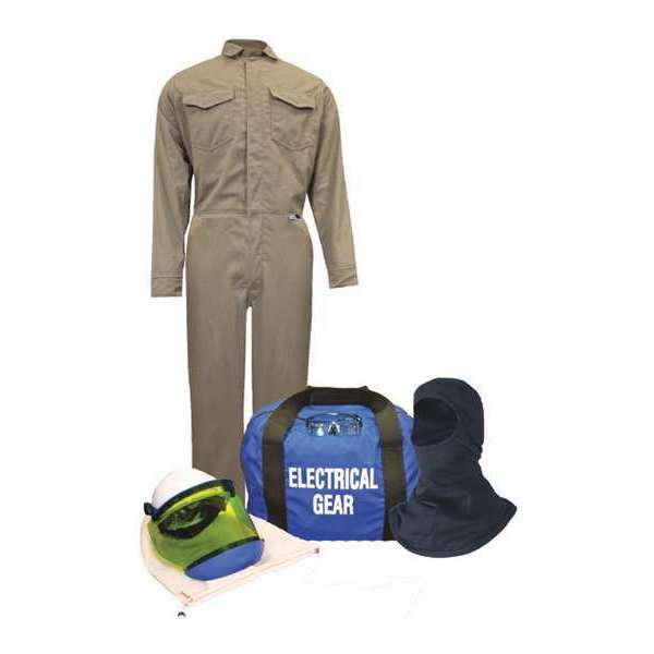 National Safety Apparel Flame-Resistant Coverall Kit, Kha, L, HRC2 KIT2CVPR08NGBLG
