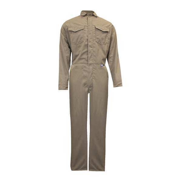 National Safety Apparel Flame-Resistant Coverall, Khaki, 3XL, HRC2 C88LI3X32