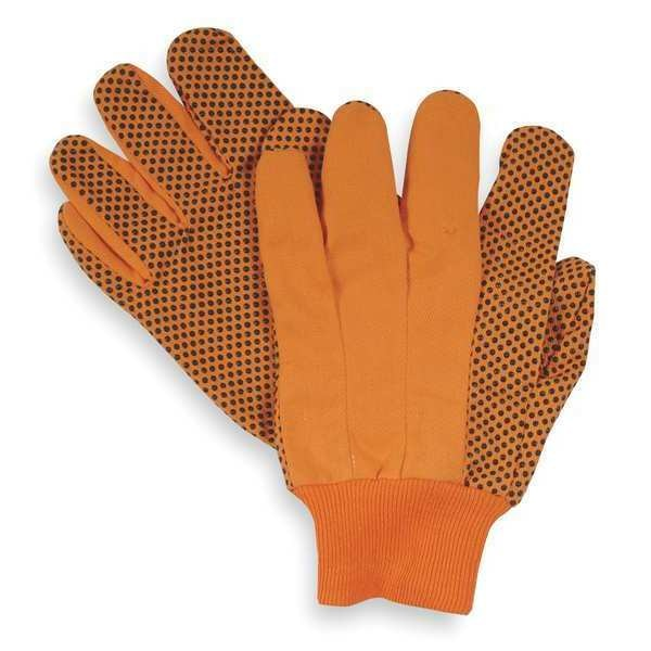 Condor Canvas Gloves, Cotton,  L, High Visibility Orange, PR 2RA15