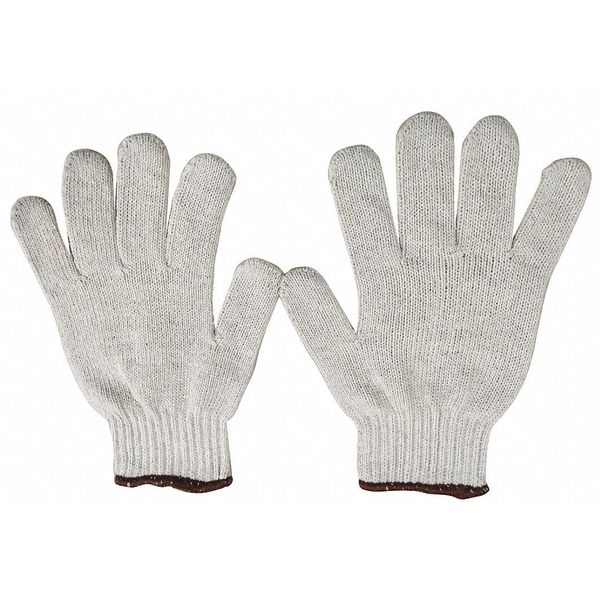 Condor String Knit Gloves,  Polyester/Cotton,  White,  Small 4JF63