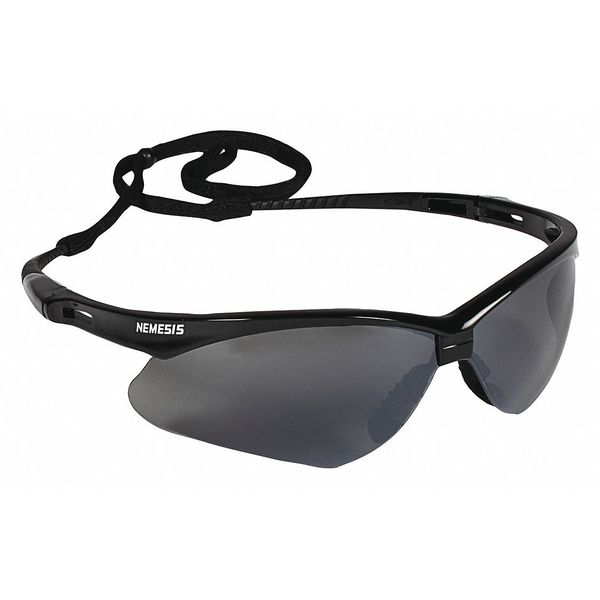 Kleenguard V30 Nemesis Safety Glasses Black Frame And Gray Scratch-Resistant Lens,  Includes: Neck Cord 25688