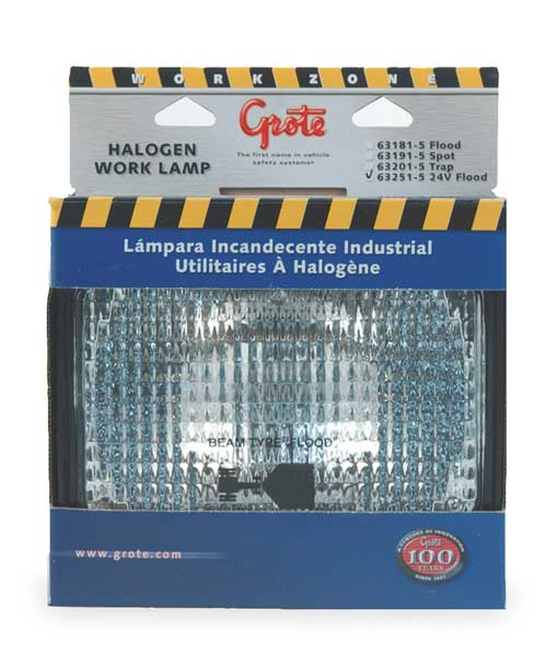 Grote Work Lamp, Large, Rectangle, Halogen, Clear 63251-5