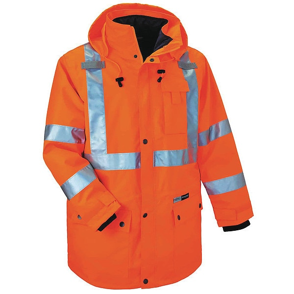 Glowear By Ergodyne XL Insulated Hooded Jacket,  Orange 8385